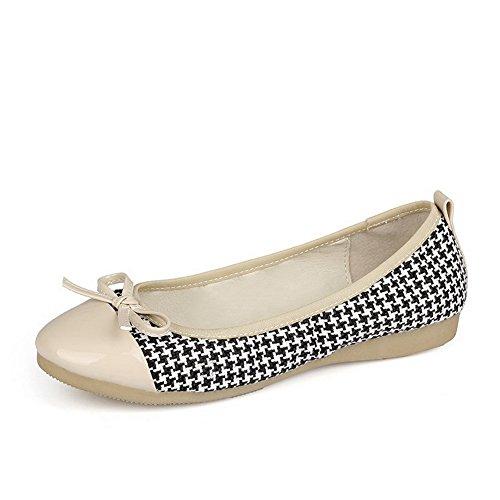 AgooLar Damen Blend-Materialien Rund Zehe Niedriger Absatz Gemischte Farbe Pumps Schuhe, Weiß, 40