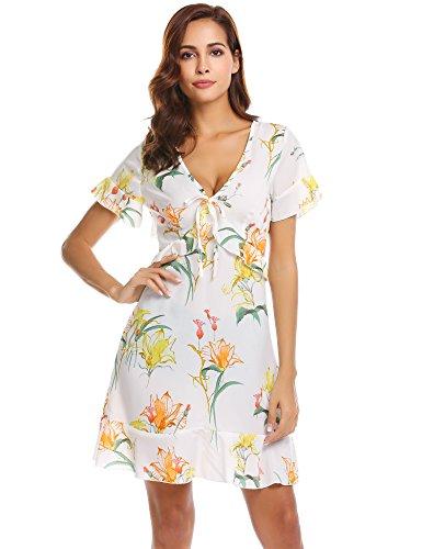 Justrix Womens Vintage Floral Print V Neck Short Sleeve Ruffle Knee Length Tunic Beach Dress