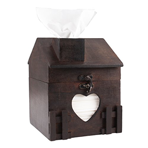ZOHUMI Square Tissue Box Cover, Black Wood Toilet Tissue Box Holder, Decorative Chimney House Roll Paper Dispenser (Brown 1) by ZOHUMI