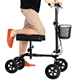 Giantex Folding Knee Walker Scooter for Foot Injuries Medical Surgery, Height Adjustable & Non-Slip Foam Knee Pad, Dual Brakes for Easy Control, Aluminum Steerable Scooters Crutches Alternative