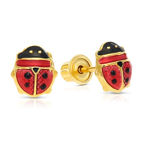Girls 14k Yellow Gold Small Ladybug Stud Earrings with Safety Screw backings (Red) (Yellow Earring Ladybug 14k Gold)