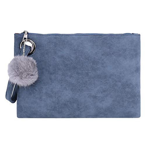 Women Hairball Solid Color Leather Zipper Coin Purse Bag Clutch Bag Phone Bag by TANGTANGYI (Image #2)