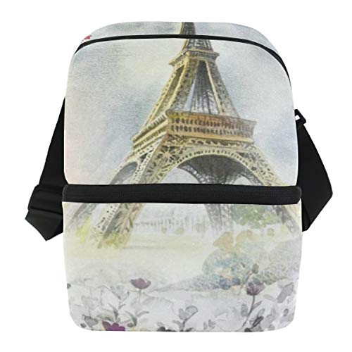(Lunch Bag Romantic Eiffel Tower Lovers Portable Cooler Bag Mens Leakproof Food Organizer Zipper Tote Bags for Weekends)