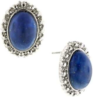 1928 Jewelry Silver-Tone Imitation Blue Lapis Button Earrings
