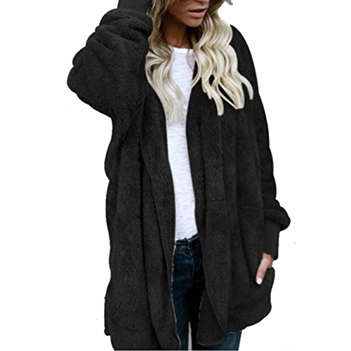 Amiley hot sale Winter Thick Warm Fleece Shearling Open Front Cardigan Coat Hooded Jacket (Black, (Hooded Black Shearling Coat)