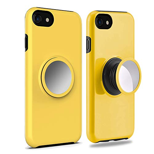 Rebex iPhone 8 Case Cover,iPhone 7 Case,iPhone 6s Case,iPhone 6 Case Tough Heavy Shock Protective Expanding Phone Stand Grip Built-in Iron for Magnetic Mount Rugged Duty Protection(Yellow) ()