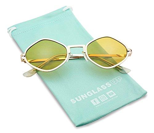 Full Metal Geometric Color Tinted Flat Lens Designer Inspired Sun Glasses (Gold Frame   - Festival Metal