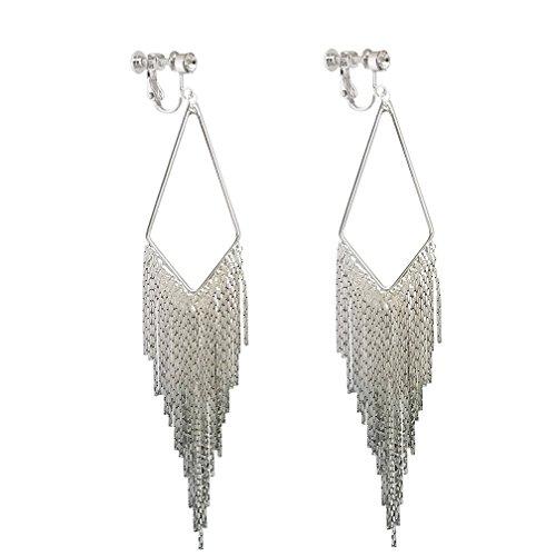 Long Dangle Rhinestone Clip on Earrings Tassel Boho Bohemian Fringe Earring for Women Jewelry