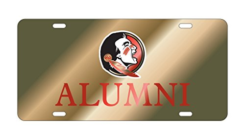 FSU FLORIDA STATE SEMINOLES Gold Mirrored ALUMNI License Plate Tag