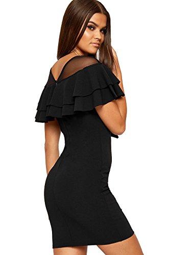 Sleeveless Womens Layered Frill Mesh WearAll Neck Mini Bodycon Black Dress V Stretch 1YIqd1wS
