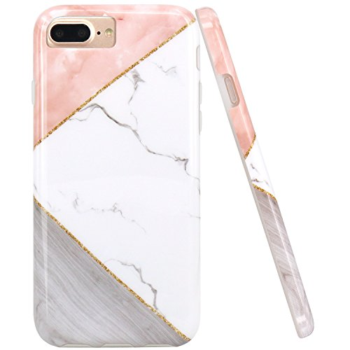 JAHOLAN Geometric Pink White Marble Design Clear Bumper TPU Soft Rubber Silicone Phone Case Compatible with iPhone 7 Plus/8 Plus/6 Plus/6S Plus