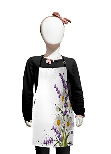 Lunarable Lavender Kids Apron, Vivid Bouquet with Daisies Color Slashes Scenic Modern Artistic, Boys Girls Apron Bib with Adjustable Ties for Cooking Baking and Painting, Lilac Reseda Green Marigold -