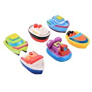 ThinkMax Floating Boat Squirting Bath Toy Rubber Baby Bath Toys (6-Piece)