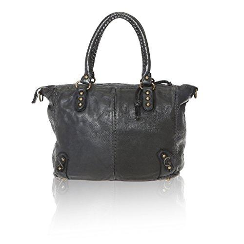 en Cm Sac main Vintage véritable 36x27x13 Borse Noir à Line Made in Cuir Femme entrelacé Italy Chicca cC0y4