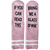 If You Can Read This Bring Me A Glass Of Wine Socks Women Fuzzy Funny Christmas Socks Gifts