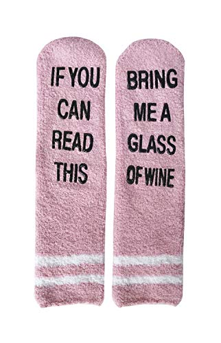 If You Can Read This Bring Me A Glass Of Wine Socks Women Fuzzy Funny Christmas Socks ()