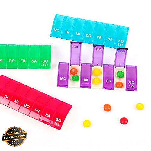 Gatton Weekly Pill Box Travel Pill Case Splitter Pill Organizer 7 Day Pill Container | Style TRVIHR-11292074