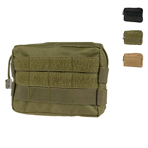 MOLLE Pouches - Compact Water-resistant Multi-purpose Tactical EDC Utility Gadget Gear Hanging waist Bags(Horizontal rectangle Pouch ,Green )