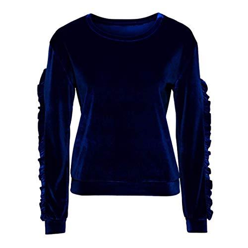 Redondo Unicolor Otoño Elástica Tops Volantes Adelina Hipster Moda Larga Manga Invierno Sudadera Pullover Retro Blau Cuello Camisas Mujer vqwEq0O