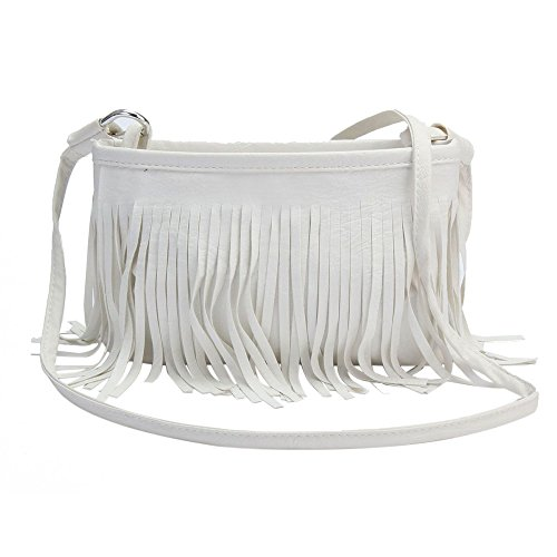 Handbag Tassels Sanwood Bag Shoulder Leather Faux Sanwood Women White Women qtT6cWc85