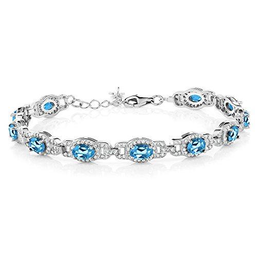 (Gem Stone King Swiss Blue Topaz 925 Sterling Silver Women's Tennis Bracelet 9.65 Cttw Oval 7 Inch With 1 Inch Extender)