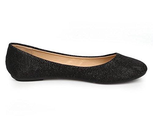 Aggiornare Serie Demi Womens Ballerina Balletto Slip On Flats Glitter Nero