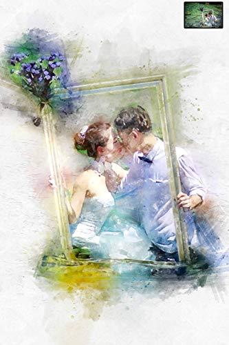 watercolour custom painting Simple wedding portrait