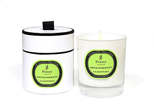 - Parks Aromatherapy Natural Wax Candle, Lime, Basil & Mandarin, 8.4oz, Giftboxed