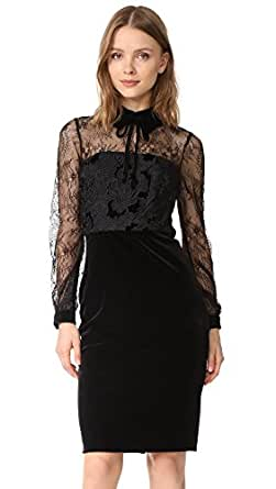 Badgley Mischka Collection Women's Lace Collared Dress, Black, 0
