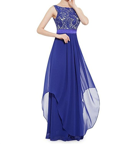 ZAFUL Elegant Lace Sleeveless Chiffon Evening Dress V-Back Party Wedding Bridesmaid Maxi Long Dress (L, Royal Blue)