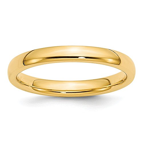 14k Yellow Gold 3mm Comfort Fit Wedding Ring Band Size 6.00 Classic Domed Cf Style Mm B Width Fine Jewelry Gifts For Women For Her 3mm Faceted Comfort Ring Band