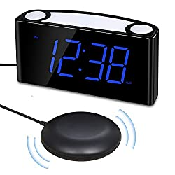 Alarm Clock Raynic Vibranting Alarm Clock for heavy sleepers 7 Display Loud Alarm Clock with Bed Shaker,Dimmer,Night Light,12/24H, DST,2 USB Charger, Snooze, Battery Backup for Bedrooms (Blue+Shaker)