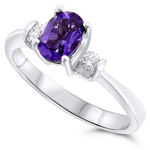 1/10 Carat 18k White Gold Purple Amethyst and Diamond Gemstone Three Stone Ring.