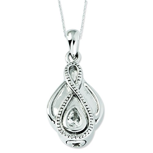 Sterling Silver CZ Tear Of Strength Ash Holder 18in Pendant Necklace -
