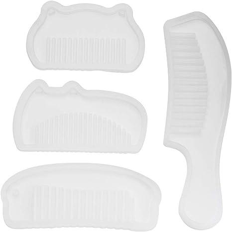 YUDESHUI Moldes de resina de silicona para peine de espejo 4 moldes de resina epoxi plantillas de manualidades de resina moldes de silicona moldes de fundici/ón