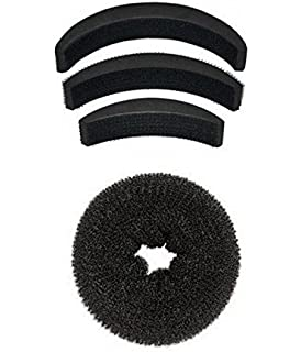 Homeoculture Pack of 1 medium size hair donut + set of 3 hair puff high volumizer banana bumpits available at Amazon for Rs.225