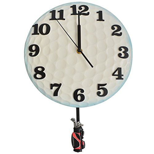 Giftgarden Golfball Wall Clock With Pendulum for Golfs Player (Golf Alarm Clock)