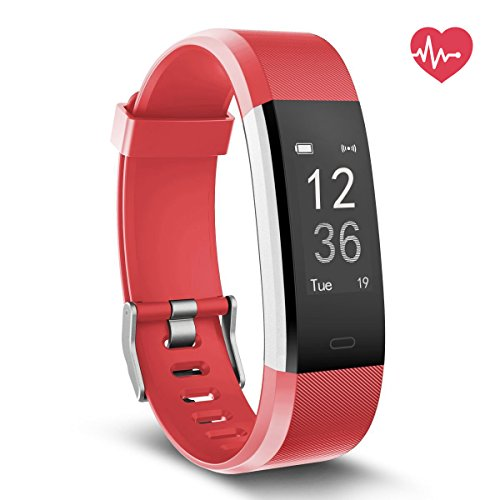 Fitness Tracker HR, Delvfire Activity Tracker Watch and Heart Rate Monitor, Waterproof Touch Screen Smart Bracelet for Women, Men, Kids with Sleep Monitor, Pedometer Step Calorie Counter iPhone Red