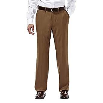 Haggar HD00218 Mens E-CLO Stria Dress Pant, Mocha - 35-30