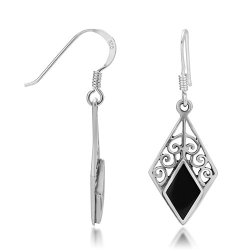925 Sterling Silver Bali Inspired Black Onyx Gemstone Filigree Dangle Hook Earrings