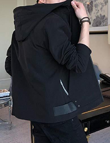 Outwear Nera Soggiorno Lungo Cofano size Xinheo Uomini Manica Zip Giacca Plus Tasche X6qIzwxP