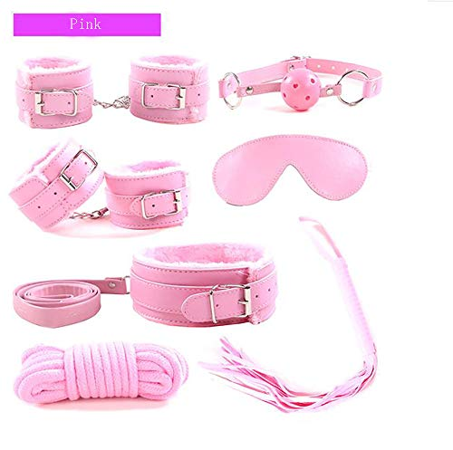 7-Piece Collar, Handcuffs, Ankles, Eye Mask, Mouth Plug, Ball, Small Whip Rope, Adult Erotic Sex Products