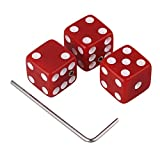 Yibuy 15x15x15mm Red Dice Shape Guitar Control Knobs & Wrench Set of 3