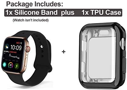 RUOQINI Smartwatch Band with Case Compatiable for Apple Watch Band 38mm 40mm 42mm 44mm, Silicone Sport Band and TPU Case for iWatch Series 5/4/3/2/1 41 S 2BBEOUtL