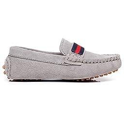 Shenn Boys Girls Fashion Strap Slip-On Grey Suede Leather Loafer Flats 2998 US12.5