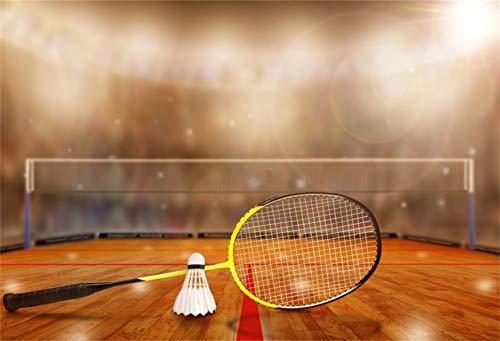 Laeacco 10x6.5ft Badminton Stadium Backdrop Vinyl Photography Background Badminton Racket Bokeh Sports Spectator Seats Badminton Match Athlete Children Kids Adult Portrait Shoot Video Studio Props (Best Badminton Matches Videos)