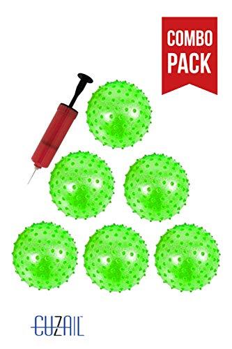 Green Glitter Ball - CUZAIL Party Favor Glitter Knobby Bounce Ball - 12 Inflatable Balls with Pump - Green