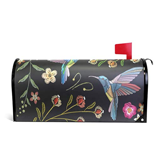 WOOR Hummingbirds and Exotic Flowers Magnetic Mailbox Cover