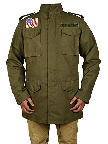 (Trader Online M65 Field Jacket Men Lightweight Military Jacket - Windbreaker Cotton Field Coat Olive Green)