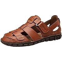 d13901d7efcd Happyshop(TM) Men s Genuine Leather Baotou Anti-collision Sandals Flip-flops  Beach